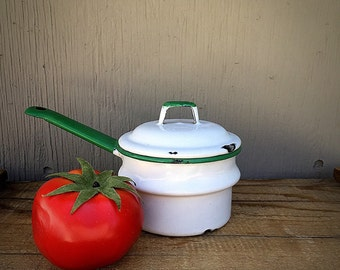 Enamelware Cooking Pot with Lid | Small Enamel Kitchen Pot | Vintage Enamelware Double-Boiler | Childs Toy Cookware | White and Green Enamel
