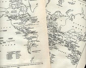 Vintage World Map Political 1950s original