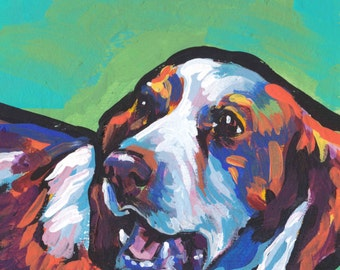 Brittany Spaniel art print of modern Dog pop art painting bright colors 8x8