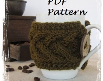 PDF pattern for cup cozy hand knit cup cozy coconut button mug cozy