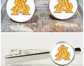 Arizona State Sun Devils cufflinks, tie bar or complete set.  College sports, tie clip, college team, groomsmen gift, cufflink tie clip set