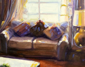 VIA CONENTA Art print, painting of couch, window scene, sunlit room, brown and gold