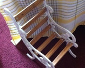 """Doll Chair,12"""" Wood Slat Chair With Shabby Look Metal Sides,Doll Sized Large Chair"""