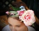 Rosie - Silk flower crown, hair circlet.  Flower and foliage hair accessory.