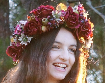 Rosehip - Flower crown, rich deep reds - roses, orchids, gumnuts, berries, wax flower and vine.