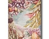 "Seashell Art, Coral Art (Ocean Print, Beach Wall Decor) Seaweed Wall Art --- ""Tide Pool"" No. 318"