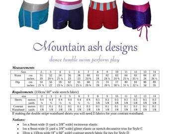 Gymnastics and dance shorts 3 pattern sewing pdf pattern ruched shorts cheer shorts girls sizes 2-14