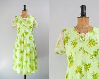SALE Vintage green chiffon dress, floaty 70s dress, 70s floral print dress, sheer midi dress, chartreuse bridesmaid dress medium