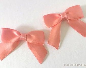 """12 Small Coral Peach Bows - 2"""" Handmade"""
