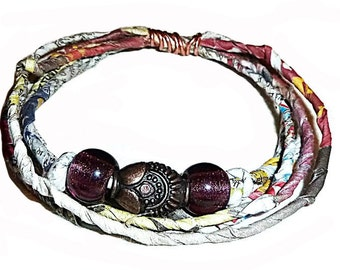 Newspaper Yarn Bracelet, Fiber Art Bracelet, Egyptian looking brass focal bead, plum glass Czech beads, Newspaper Yarn Mixed Media Jewellery