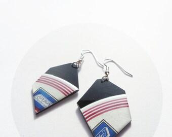eco friendly jewelry black and grey earrings geometric earrings bold earrings vinyl record earrings music jewellery nugget earrings for her