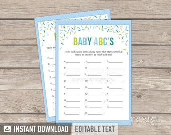 Baby Sprinkle Abc Game - Baby Name Game - Boy Baby Shower - Sprinkles - INSTANT DOWNLOAD - Printable PDF with Editable Text