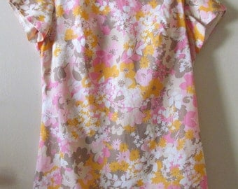 60s Floral Shift Dress S 37 Bust 34 Waist