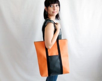 Leather tote bag, Leather bag, Shoulder bag, Big bag, Vegan leather bag, Womens bag, Orange bag, Black tote bag, Fluo bag, Large bag