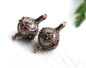 Copper Drop charms, Rhombus, Teardrop metal round charm, Ornament, Greek metal casting, Lead Free - 2Pc - F213