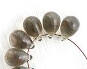 Grey teardrops, czech glass, large Teardrops, grey drop beads, Briolettes - 10x14mm - 6Pc - 2085