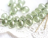 Antique green beads with luster, Glass drops, czech glass beads, pale green teardrops - 5x7mm - 30pc - 1753
