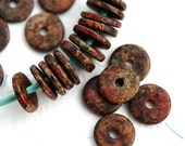 25Pc Greek Ceramic beads - Red Autumn, brown beads, mixed earthy color - 13mm spacer, washer, rondelle, beads for leather cord - 2281