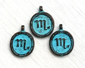 1pc Scorpio charm, Zodiac charm, Patina on copper, Horoscope, Astrology, Zodiac sign, Greek beads, 15mm, Lead Free - F335