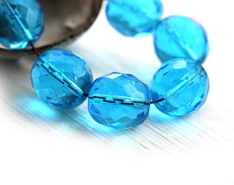 Aqua blue beads, 12mm round beads, Czech Glass, fire polished, faceted, large rounds, blue glass beads - 6Pc - 1212