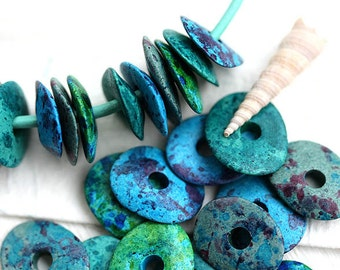 Beads mix in Teal, Blue, Green, greek Ceramic Cornflake beads, Ocean colors, donut, for leather cord, washer, 16mm - 12pc - 2048