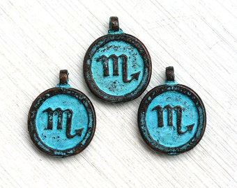 Scorpio Zodiac charm, Verdigris Patina on copper, Horoscope, Astrology, Zodiac metal sign, 15mm, Lead Free - 3pc - F248
