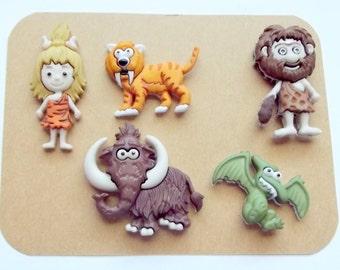 Caveman Magnets, Fridge, Refrigerator, Cave People, Stone Age, Kids Room Decor, Prehistoric, Woolly Mammoth, Saber Tooth Tiger, Flintstones