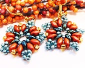 Teal and Copper Handmade Beaded Earrings