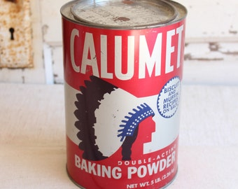 Vintage Calumet Large Baking Powder Red Can Canister Tin