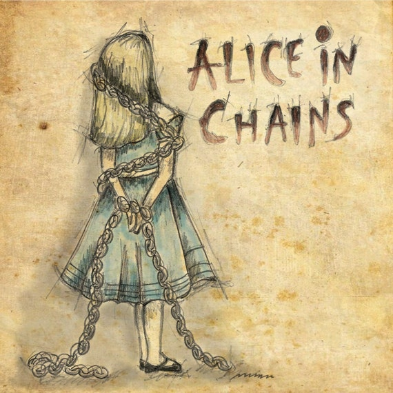 alice in chains alice in wonderland 6x6 framable print