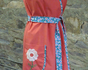 RED WRAP DRESS with floral trim vintage 1970's 70's S M