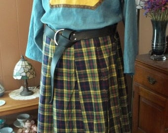 """Plaid Cotton Flannel """"Cheater"""" Kilt - Yellow, Green, Blue, and Red Tartan"""