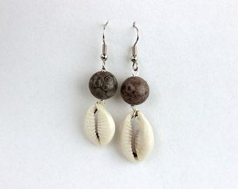 Jasper Earrings -  FREE Shipping in USA - Natural Stone Earrings, BrownJasper, Cowry Shell Earrings, Wire Wrap Earrings, Portland, OR 405