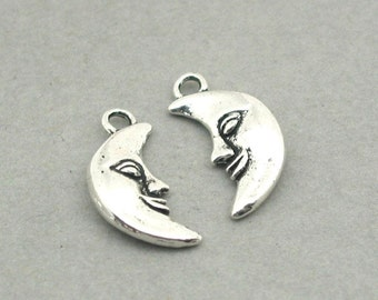 Crescent Moon Fairy Face Charms Antique Silver 6pcs zinc alloy beads 10X18mm CM0911S