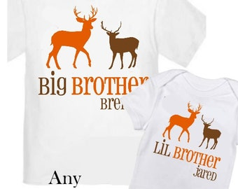2 Big Brother Deer Shirts Set Siblings Little Brother Siblings T-shirts