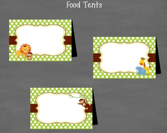 INSTANT DOWNLOAD Jungle Baby Shower or Birthday Food Tents Labels (Buffet Cards) Monkey Lion Elephant Giraffe Gender Neutral