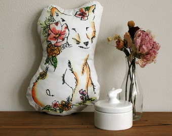 Handmade Fox Pillow - Stuffed Animal, Fox Toy