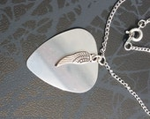 Handmade Stainless Steel Guitar Pick Pendant with Angel Wing Charm on Silver Tone Chain Gothic Steampunk Emo Punk