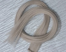 Silver Almond Clip up to 25 Inches Hair Extension Hand WeftedGothic Steampunk Cosplay