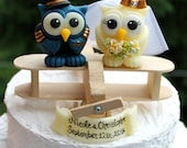 Plane wedding cake topper, owls love birds bride and groom, airplane pilot groom, with wooden plane
