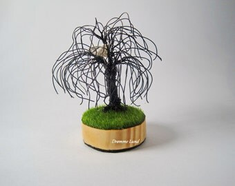 Weeping Willow In Springtime ~ OOAK Weeping Willow Tree Sculpture With Birdnest