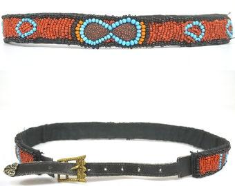 Vintage African Beaded Hippie Tribal Belt
