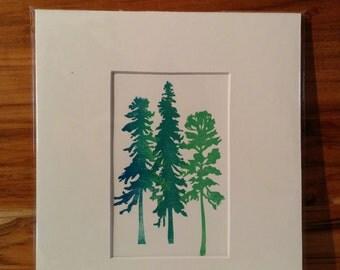 Three Tree Lino Prints