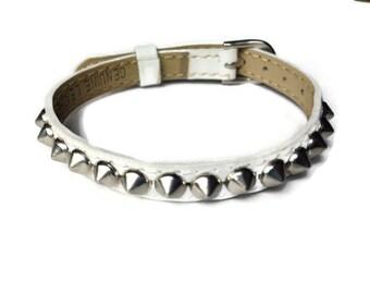White Studded Leather Buckle Bracelet Wristband Strap - 8mm White Leather Strap -  Adjustable Layering bracelet