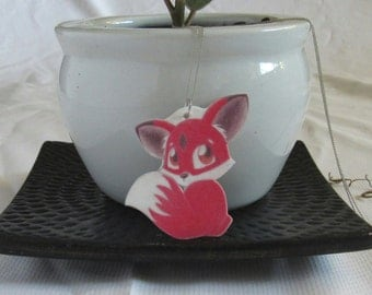 Fox Jewelry - Handmade Jewelry - Red Fox Necklace - Animal Necklace - One Of A Kind - Fox Lover Art - Little Fox - Chibi Fox Jewelry