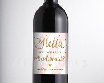 Will You Be My Bridesmaid? WINE LABEL Blush Pink Stripes Faux Gold Glitter Personalized Wedding Bachelorette Party DIY or Printed- Stella