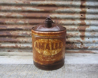 Vintage 1950s Era AMALIA Motor Oil Wood Handle Can Aged Rusted Rustic Distressted  Metal Collectible Gas Station Gear Oil Mechanics Garage
