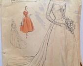 "Vintage 1950s Vogue Couturier Design Bridal Gown Wedding Dress Pattern 704 Size 14 (32"" Bust)"