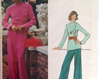 """Vintage 1970s Vogue Paris Original Top, Pants, and Sash Pattern by Patou 1216 Size 12 (34"""" Bust) UNCUT"""