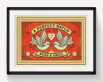 Personalised Wedding Gift, Anniversary Print, Personalised Anniversary, Vintage Matchbox Print, Vintage Print, Wedding Print, Love Quote